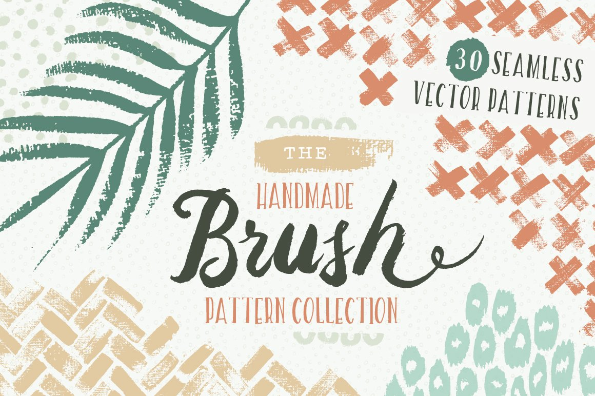 30款植物、纹理手绘矢量图案下载 Handmade Brush Pattern Collection [ai,esp,jpg,png]插图