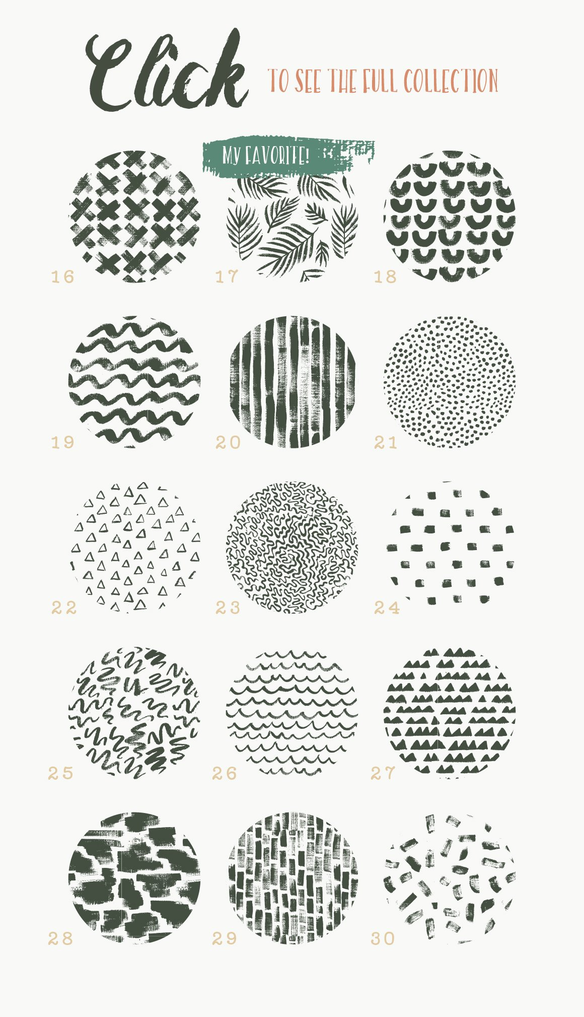 30款植物、纹理手绘矢量图案下载 Handmade Brush Pattern Collection [ai,esp,jpg,png]插图(7)